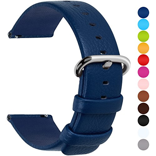 Blue Leather Strap - 12 Colors for Quick Release Leather Watch Band, Fullmosa Uli Genuine Leather Watch Strap 18mm Dark Blue