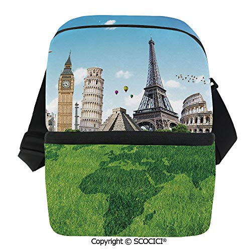 SCOCICI Cooler Bag Famous Historical Monuments of The World Theme Holiday Travel Destinations Insulated Lunch Bag for Men Women for Kayak,Beach,Travel,Work,Picnic,Grocery