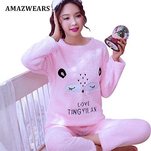 Establece Gruesa Caliente Hembra Animados Jylw Animal Pink Invierno Homewear Pijama Fox Pijamas Dormir Dibujos Mujeres Mujer wYaRTtfq