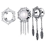 TIANCIFBYJS 3 pair Dangle Ear Tunnels Kit Woman 2g Piercing Gauges Earring Plugs Punk Stretching Kit Expanders (10=00g)