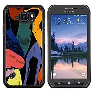 Arte abstracto de colores de la acuarela- Metal de aluminio y de plástico duro Caja del teléfono - Negro - Samsung Galaxy S6 active / SM-G890 (NOT S6)