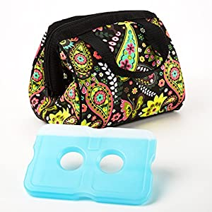 Fit & Fresh Charlotte Insulated Lunch Bag for Women with Ice Pack, Ideal Size for Work & School, Zips Closed, Purple Green Paisley