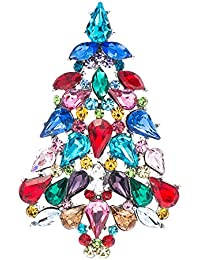 Multicolor Crystals Rhinestone Brooch Women Jewelry Christmas Tree Broaches Pins P5458