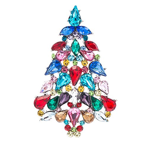 SEPBRIDALS Multicolor Crystals Rhinestone Brooch Women Jewelry Christmas Tree Broaches Pins P5458 (Onyx)