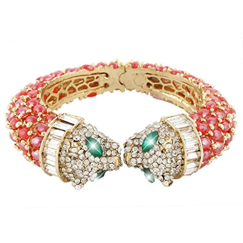 EVER FAITH Gold-Tone Austrian Crystal Double Leopard Head Bangle Bracelet Red ()