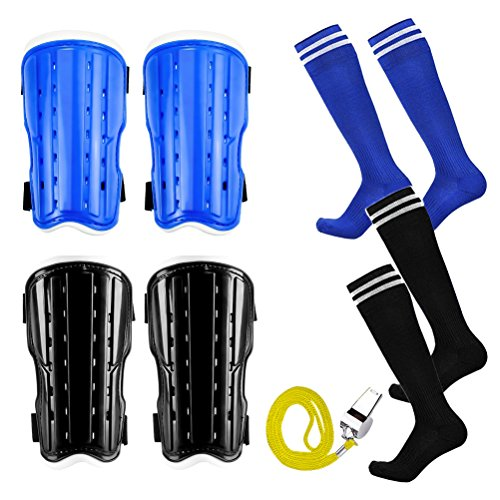 (MOLECOLE 2 Pair Youth Soccer Shin Guards,2 Pair Knee Soccer Socks with A Stainless Steel Whistle,Perforated Breathable & Protective Gear for 6-12 Years Old Teenagers)