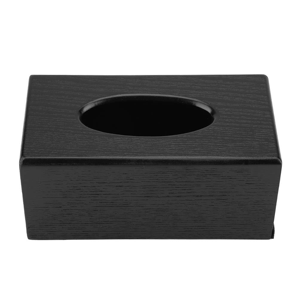 Wooden Tissue Box 23x12x10cm Elegance Rectangular Tissue Holder Wood Facial Tissue Box Cover Holder for Office Desk Living Room Bedroom Kitchen Black