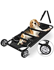 Happybuy Animal Stretcher Black Pet Stretcher 48x26 Inch Animal Stretcher Pet Trolley with Wheels Max 250lbs Capacity