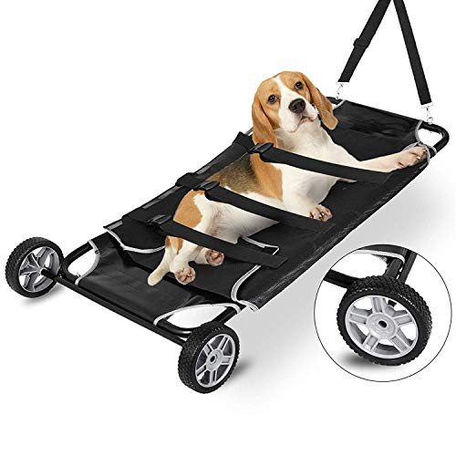 Small Animal Transport - Happybuy Animal Stretcher Black Pet Stretcher 48x26 Inch Animal Stretcher Pet Trolley with Wheels Max 250lbs Capacity