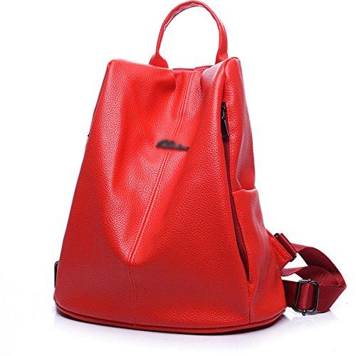 Mujer Mochila Nuevo Estilo Mujer Ocio Moda Color Sólido PU mochila Gran Capacidad Bolso Red