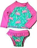 Baby & Toddler Girls Long Sleeve Rash Guard 2 Piece Set UPF 50+Swim Shirt (Pink/Turquoise Flamingo, 4T)