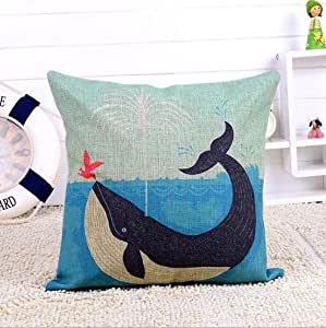 CCTUSGSH Ocean Dolphins Seabirds Otter Printed Cotton Throw Pillow Case Cushion Cover 16 X 16 Inches One Side