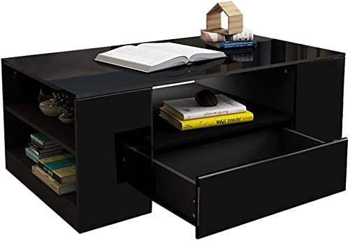 Zerodis Modern Rectangular Coffee Table, High Gloss Desk with Storage Drawer, 2 Layers Coffee Table Furniture for Living Room Office, 37.4 x 21.7 x 14.6inch Black