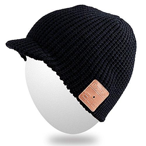 del del Gorra Gorro moda con de hilos Bluetooth Bluetooth adulta unisex sombrero caliente del tejida cubiertas Gorrita del la del oído suave Mic gorrita alta de auricular Negro del auricular Mydeal Sombrero BB017 4p8xd85