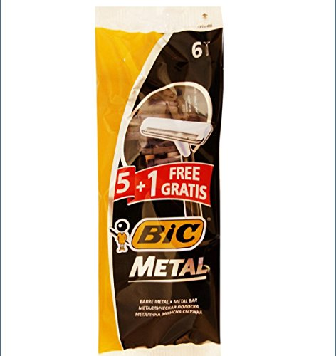 Bic Metal Quality Disposable Men's Shaving Razors, Best Single Blade, 5-count +1 Free - Disposable Metal