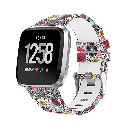 Amawell for Fitbit Versa Band,Silicone Adjustable Replacement Sport Strap Printed Bands with Classic Buckle for Fitbit Versa Fitness Smart Watch (Floral Pattern-5, Small)