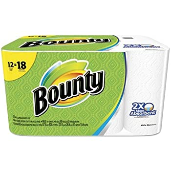 Bounty Paper Towels, White, Giant Rolls-12 Ct (2)