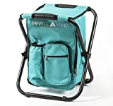 Mini Backpack Folding Chair w/ Cooler Bag & Storage Pockets - Convenient, Ultra Lightweight & Compact Outdoor Seat - Perfect for Picnics, Hiking,...