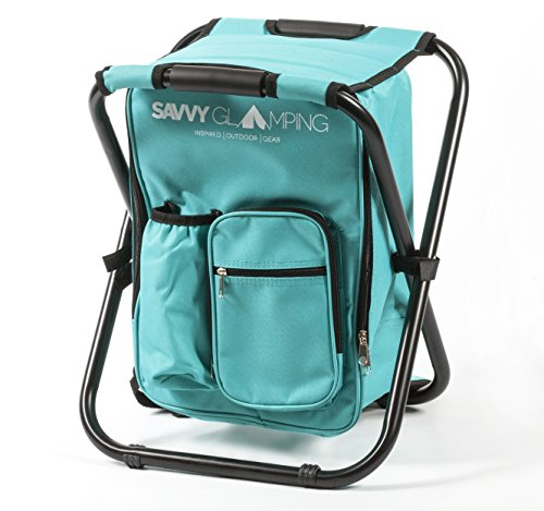 Mini Backpack Folding Chair w/ Cooler Bag & Storage Pockets - Convenient, Ultra Lightweight & Compact Outdoor Seat - Perfect for Picnics, Hiking, Camping, Tailgating, Parades & More