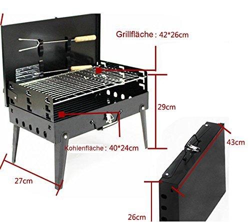 SunJas Griglia Pratica Portatile e Pieghevole Campeggio Mini Fornello Barbecue 3 spesavip