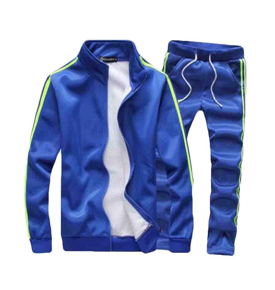 KLJR Men /& Womens Classic Stripe Full-Zip Tracksuit Casaul Sports Sweat Suit