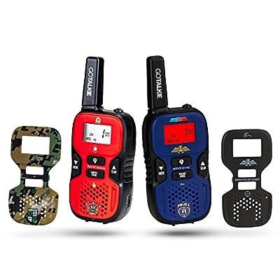 GoTalkie Set of 2 Long Range Portable and 4 Interchangable Police, Spy, Fireman, Army Soldier Theme Plates w/Built in Flashlight, LCD Screen Radio Walkies Kids Pretend Play