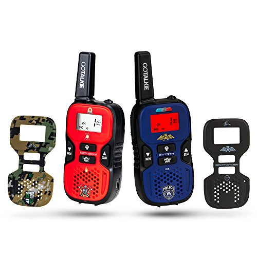 - GO TALKIE Walkies for Kids - Set of 2 Long-Range Portable Radios w/Built-In Flashlight, LCD Screen & 8 Interchangeable Theme Plates - Play Police, Spy, Fireman & Army Soldier