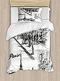 Ambesonne Eiffel Tower Duvet Cover Set Twin Size, Paris Sketch Style Cafe Restaurant Landmark Canal Boat Lantern Retro Print, Decorative 2 Piece Bedding Set with 1 Pillow Sham, Black White