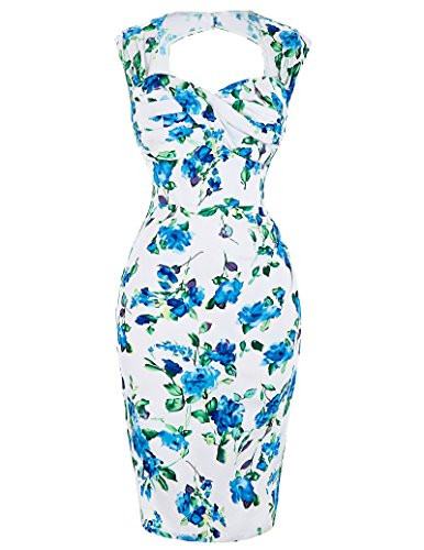 dycon Dress Flower Stretch Sweetheart Neck Pencil Midi Party Dresses Size 12 ()