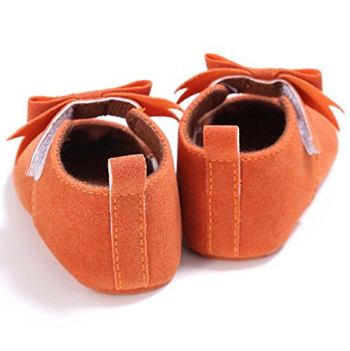 Baby Schuhe, Auxma Baby-Mädchen-weiche Sole-Kleinkind-Baumwollkrippe-Schuhe,Erste Wanderschuhe Prewalker (12cm(6-12M), Heißes Rosa) Orange