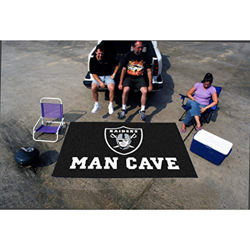 5'x8' NFL Raiders Mat Sports Football Area Rug Team Logo Printed Large Mat Floor Carpet Bedroom Living Room Tailgate Man Cave Home Decor Athletic Game Fans Gift Non-Skid Backing Soft Nylon, Black