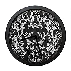 wojuedehuidamai6 Silent Wall Clock - Black White Damask Flower Art Wall Clock - Decorative Wall Clock for Home、Office and Cafe with 10in