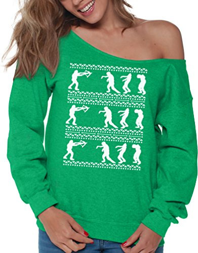 Walking Dead Costumes For Couples (VIzor Walking Dead Ugly Christmas Sweatshirt For Women Xmas Off The Shoulder Top Green XL)