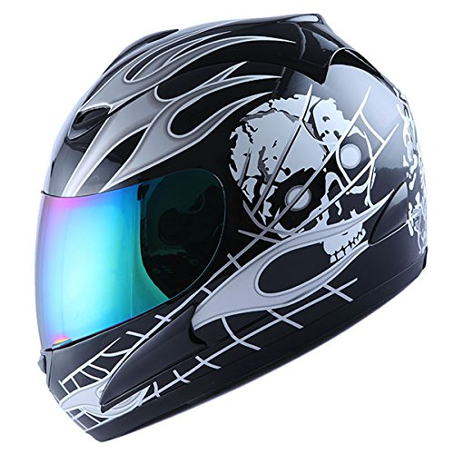 WOW Motorcycle Full Face Helmet Street Bike White Flame Skull Black