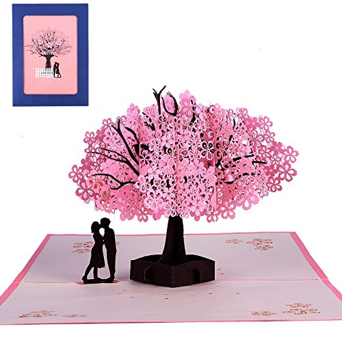 3D Pop Up Handmade Cherry Blossom Greeting Cards Romantic Cards for Girl's Birthday, Mother's Day, Valentine's Day Wedding Invitation Anniversary Greeting,Thank you Greeting Cards (Cherry Blossom) (Handmade Wedding Anniversary Cards)
