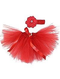 Ikerenwedding Baby Girl's Tutu Skirt 0 to 18 Months Headband Set for Photography
