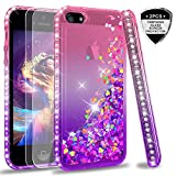 LeYi Case for iPhone 5S SE 5 with Tempered Glass Screen Protector [2 pack], Girl Women 3D Glitter Liquid Cute Personalised Clear Silicone Gel Shockproof Phone Cover for Apple iPhone 5S Pink Purple