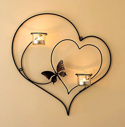 Wandteelichthalter Herz 39cm Schwarz Teelichthalter aus Metall Wandleuchter Kerzenhalter (Schwarz)