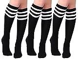 Joulli Women's Casual Stripe Knee High Socks 3 Pairs, Black Stripe