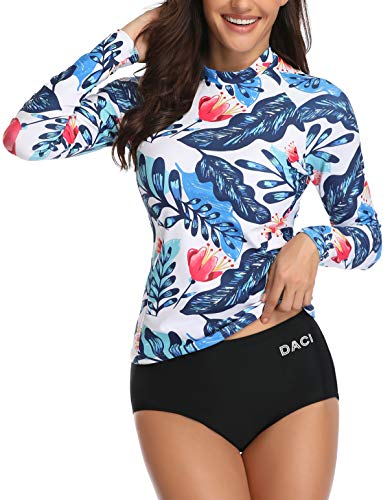 - Daci Women's Two Piece Long Sleeve Rash Guard UV UPF 50+ Sun Protection Printed Zipper Surfing One Piece Swimsuit (X-Large, Blue)