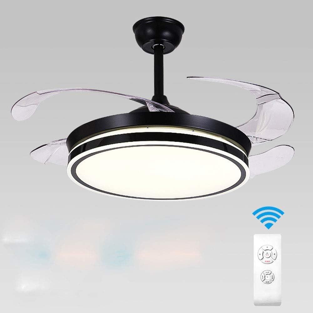 Ventilador de techo con iluminación y control remoto Negro 3 luces de ventilador de luz 36W Luz de techo LED Ala plegable 42 pulgadas Lámpara de techo moderna para dormitorio sala de