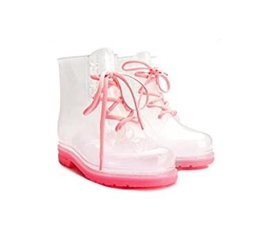 Women's Ankle Flat Pink Sole Transparent Clear Jelly Martin Rain Boots (7 B(M) US)