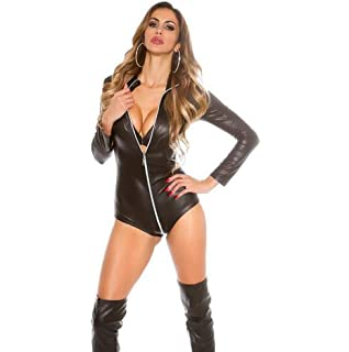 59fc22249c3bf SHANGLY Faux Leather Dresses Latex Shiny Halter Sleeveless Catsuit ...
