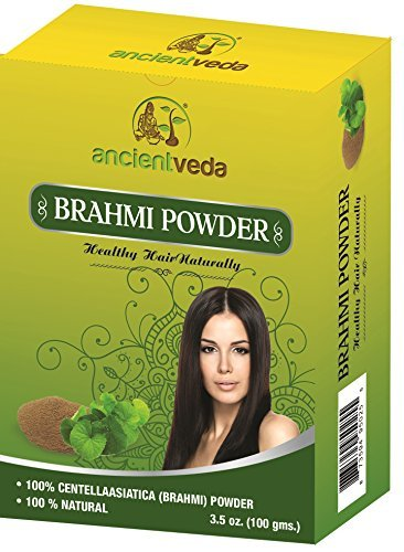 Brahmi Powder for hair growth, 7 Oz(Pack of 2 X 100 Gms) - No Fillers, No Preservatives, No Chemicals - Ancient Veda ()