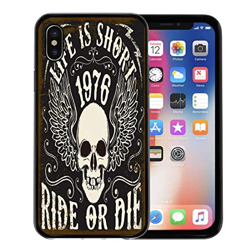 Semtomn Phone Case for Apple iPhone Xs case,Motorbike Motorcycle Skull Tee Graphic Motor Biker Badge Racer Cafe for iPhone X Case,Rubber Border Protective Case,Black