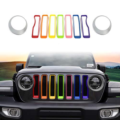 RT-TCZ 2018 Jeep Wrangler JL Silver Mesh Grille Grill Insert+Rainbow Headlight Turn Light Cover Trim for 2018 Jeep Wrangler JL