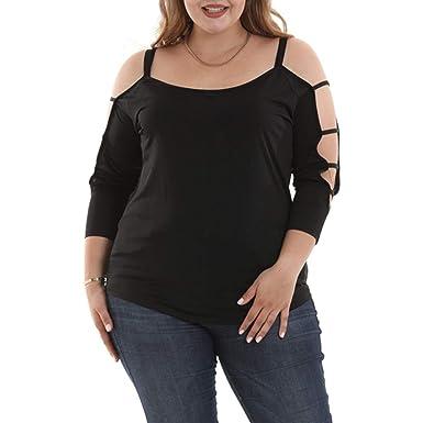 1e9e056572 YANG-YI Plus Size Women Tops, Women Fashion Ladder Cut Overlay Asymmetric  Blouse Strapless