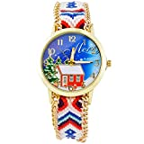 Souarts Womens Blue Wool Braided Band Christmas Gift Pattern Dial Quartz Analog Wrist Watch 29cm