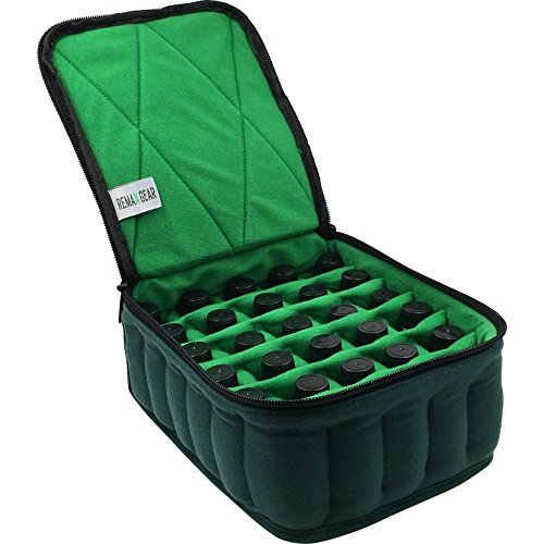 Essential Oil Carrying Case Bottle Holder Storage Organizer for 5ml 10ml 15ml Vials - Bottles Fit Snug Don't Fall Through Bottom Perfect for up to 30 Essential Oils ()