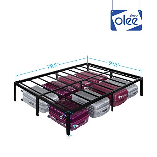 Olee Sleep 14 Inch Heavy Duty Steel Slat / Non-slip Support Bed Frame  (QUEEN)